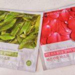 Holika Holika, hydrogel masks: Real Green Tea and Real Rose -